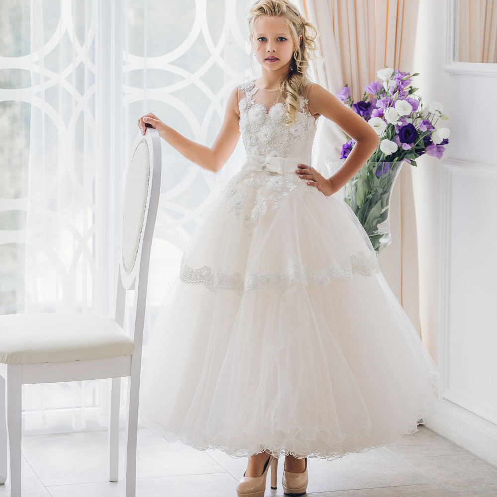 Fantacy Flower Girl Dress For Birthday Wedding Party Sleeveless Ball Gown Ribbon Belt Bows Tulle 0-12 Years Old  For Christmas