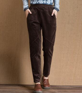 6d04530e8c394 Corduroy pants for women elastic waist plus size casual bloomer pants harem  brown red new fashion winter autumn spring qsy0601-in Pants   Capris from  ...