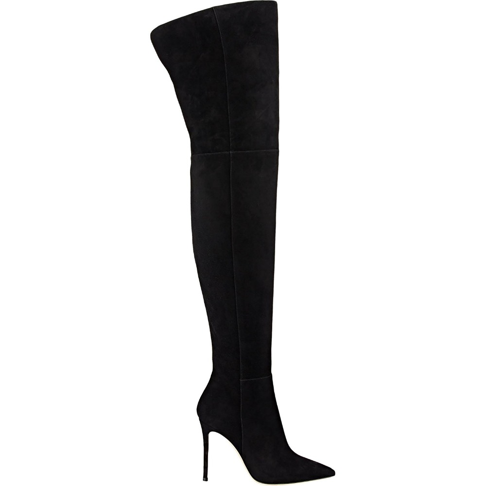 09214e54f Mavirs Brand Black Over the Knee Boots 2018 Winter Pointed Toe 10CM High  Heels Thigh High Stretch Suede Stilettos Shoes US 5 15 -in Knee-High Boots  from ...