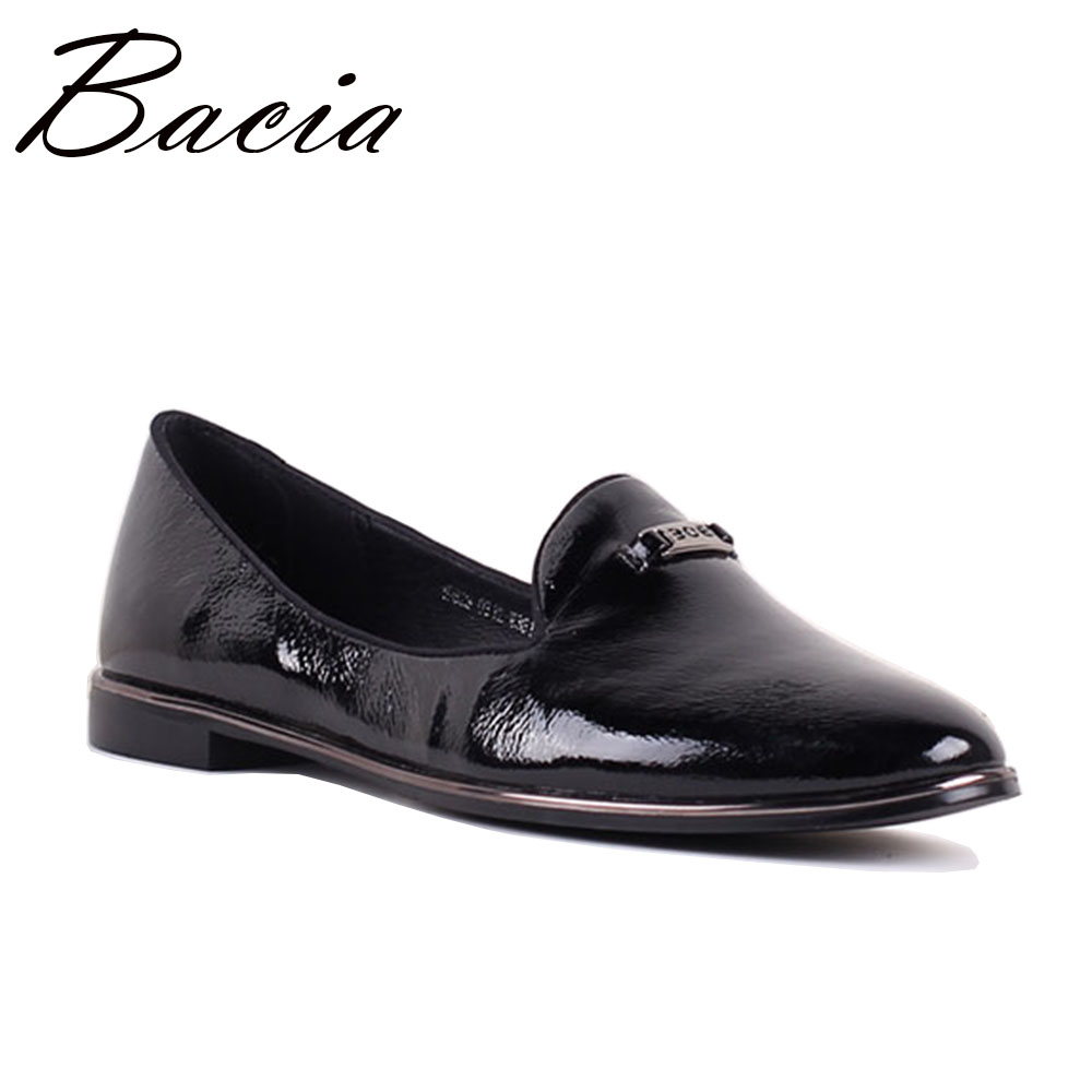 Bacia 2017 Women Simple Flats Slip On Genuine Leather Casual Shoes Comfortable Round Toe Flat Shoes Woman Plus Size 35-41 SB033 beautoday genuine leather crystal loafer shoes women round toe slip on casual shoes sheepskin leather flats 27038