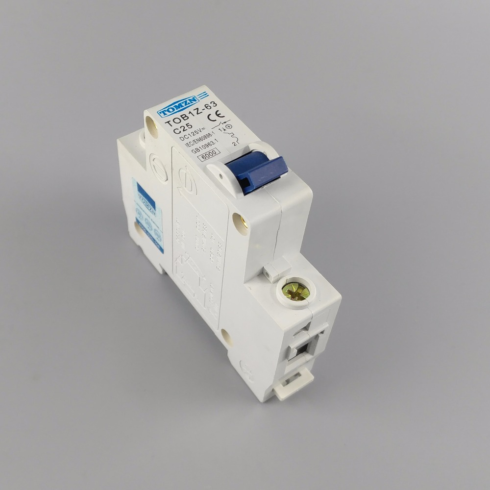 1P 25A 25ampere TOB1Z DC 125V Circuit breaker MCB direct current C curve idpna vigi dpnl rcbo 6a 32a 25a 20a 16a 10a 18mm 230v 30ma residual current circuit breaker leakage protection mcb a9d91620