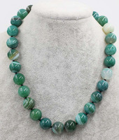 green veins agate round 14mm necklace 18inch wholesale beads nature FPPJ woman 2017