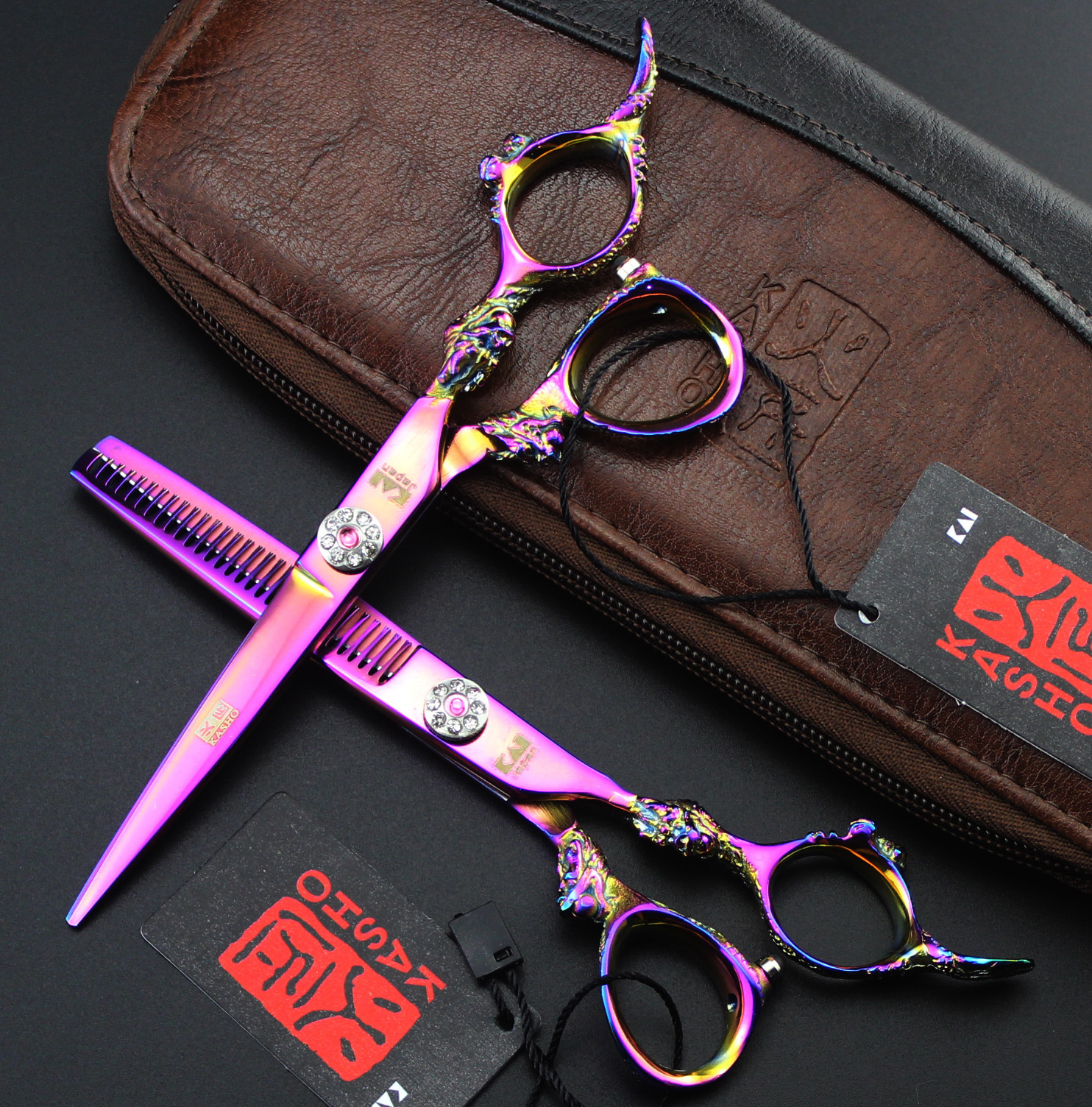Professional Styling tools KASHO  6 inches 440C hair scissors Cutting  Thinning free ship 6 hair cutting scissors high quality professional sus440c hair styling tools