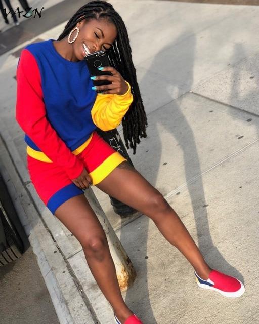 VAZN 2018 New Arrival Fashion Hiệu Phong Cách Giản Dị 2 Piece phụ nữ Đặt Rắn O-Neck Full Sleeve Quần Ngắn Bodycon Bộ TS796