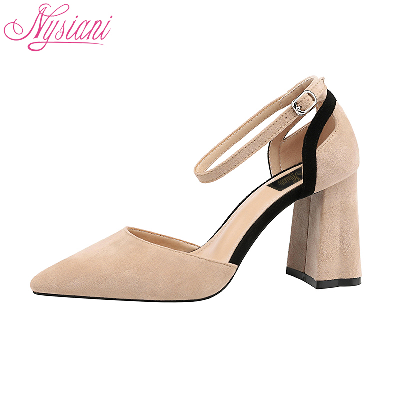 2018 Summer Buckle Strap Thick Heels Sandals For Women Brand Designer Pointed Toe High Heels Party Dress Sandals Shoes Nysiani