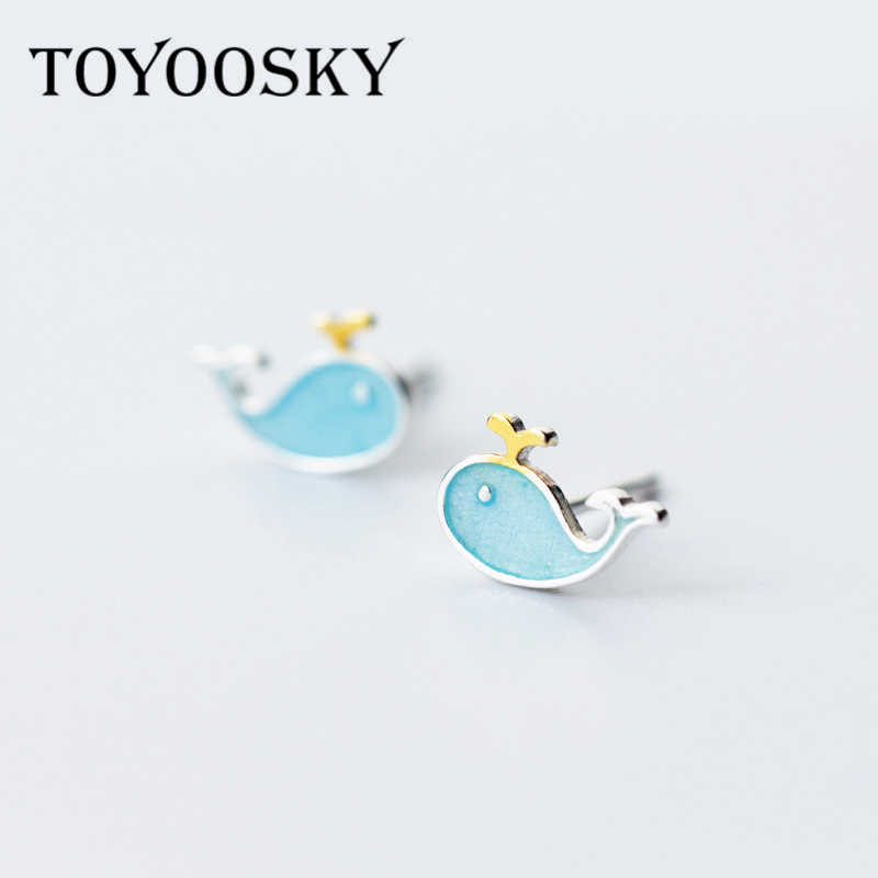 100% Sterling Silver Blue Lovely Whale Stud Earrings For Girls Kids Children Creative Cute Marine Animals Girl Jewelry