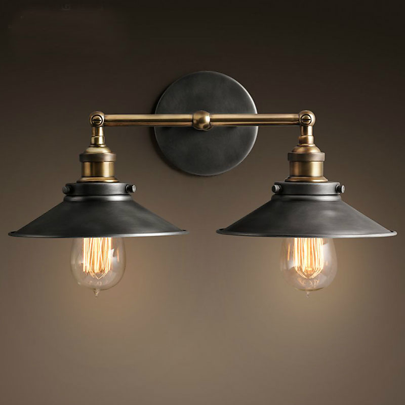 American Country Retro Indoor Wall Light 2 Head Iron Wall Lamp For Reading  NEW Mirrored Bathroom Cabinet Sconce 110 220V Modern