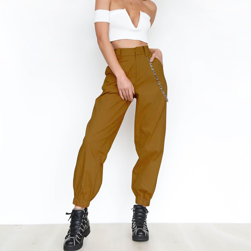 soup dream Streetwear Cargo   Pants   Women Casual Joggers Black High Waist Loose Female Trousers Korean Style Ladies   Pants     Capri