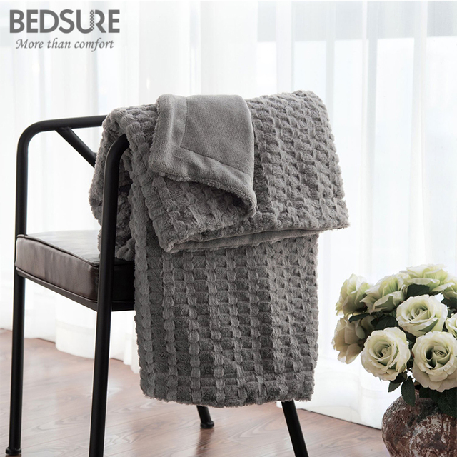 Bedsure Faux Fur Blanket Warm Soft Fleece Blankets Throw On Sofa Bed Plane  Plaids Solid Bedspreads