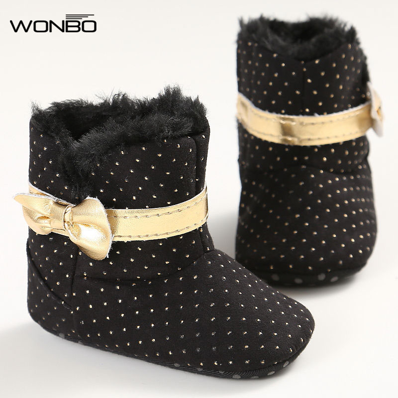 5Colors Fashion Sweet Winter Newborn Baby Girl Princess First Walkers Super Warm Bow Shoes Crib Bebe Snow Soft Soled Boots Booty