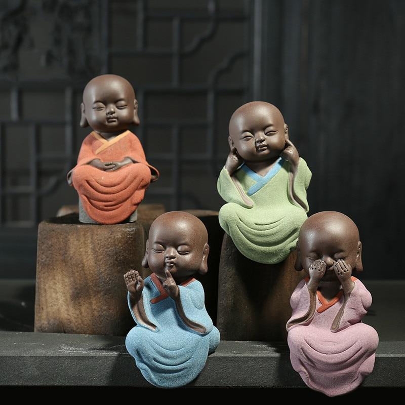 Purple Sand Tea Pet Monk Zen Ornamental Sculpture Accessories Home Decoration Artistic Decoration Buddha Statue.