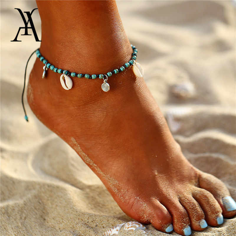 Boho Beach Shell Pendant Anklets For Women Vintage Stone Beads Ankle Bracelet Adjustable Foot Leg Bracelet Foot Jewelry