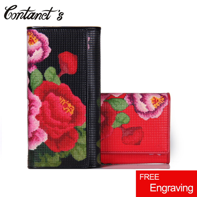 Clutch Wallet Genuine Leather Women Wallets Flower Print Design Long Female Money Bag Big Capacity Cell Phone Purse Card Holder contact s luxury brand women wallets genuine leather 2018 new long design ladies purse clutch bag card cell phone holder wallet
