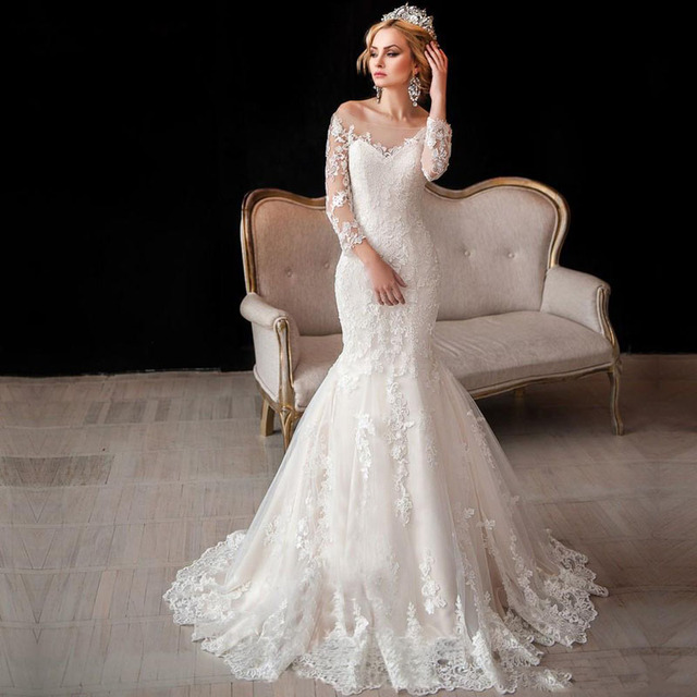 Luxus Vintage Lange Hülsen spitze Hochzeitskleider 2016 Mermaid Off ...