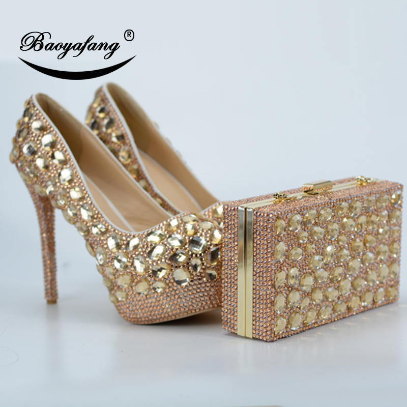BaoYaFang 2018 New Arrive Champagne Crystal Wedding shoes and bags High Heels Platform shoes Thin Heel fashion shoes and bagsBaoYaFang 2018 New Arrive Champagne Crystal Wedding shoes and bags High Heels Platform shoes Thin Heel fashion shoes and bags