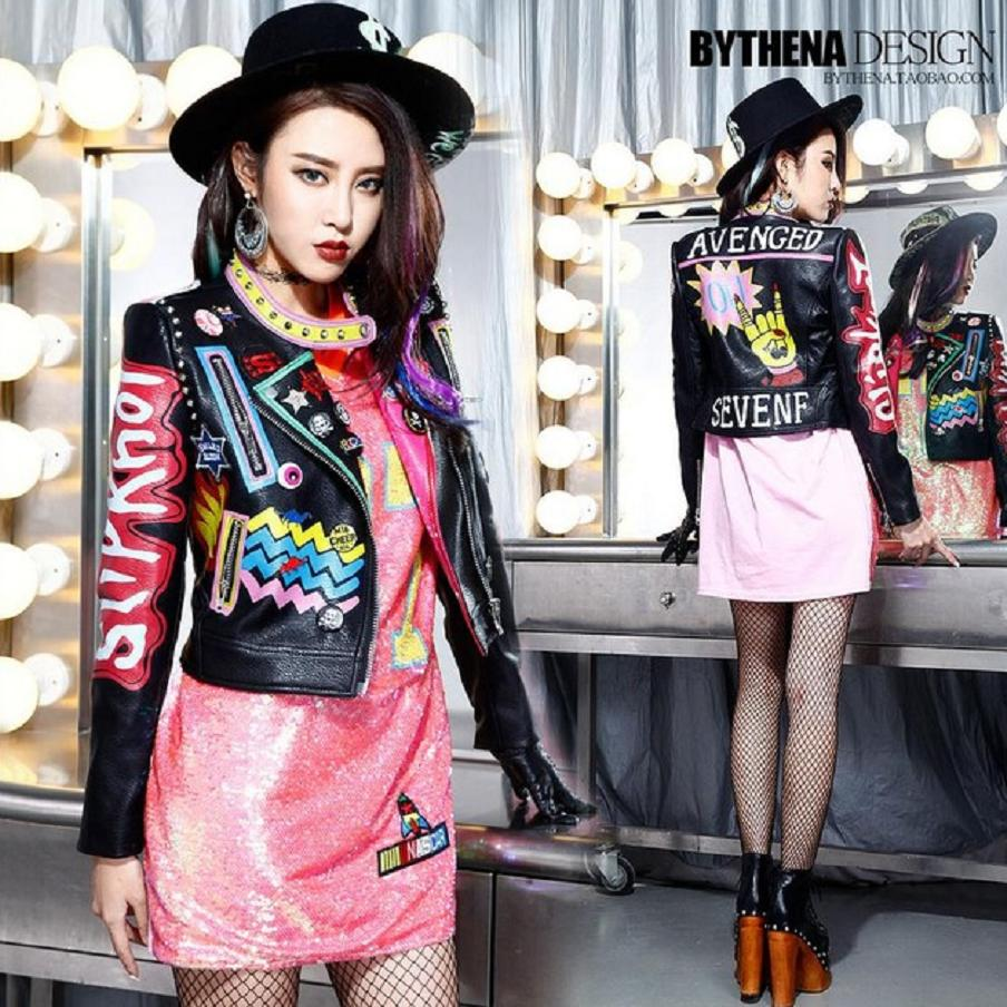 2019 Fashion Autumn Women Punk Heavy Metal Street Short   Leather   Jacket Black Zipper Rivet Long Sleeve Motorcycle coat W1525