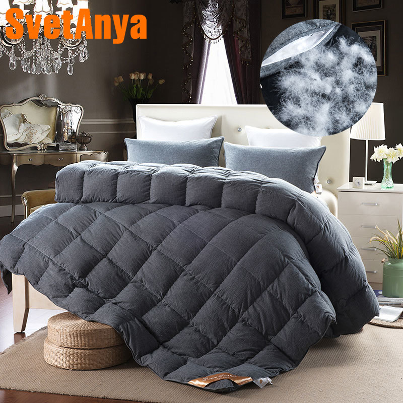 Luxury duck/goose down duvet comforter solid quilting winter blanket 100% washing cotton multicolor Single/Queen/King Size quilt-in Comforters & Duvets from Home & Garden    1
