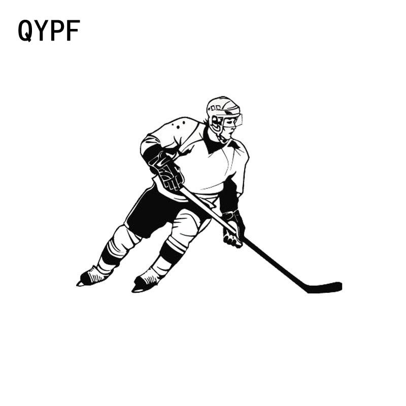 QYPF 13cm*9.cm Ice Hockey Sports Car Styling Fashion Car Window Stickers Black Silver S2-0465
