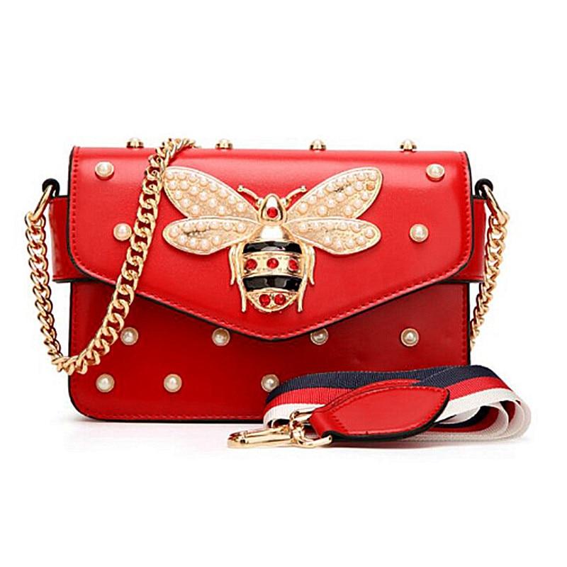 Fashion Women Messenger Bag New Brand Leather Female Shoulder Bag Luxury Diamond Little Bee Woman Handbags Strap Bags baobao
