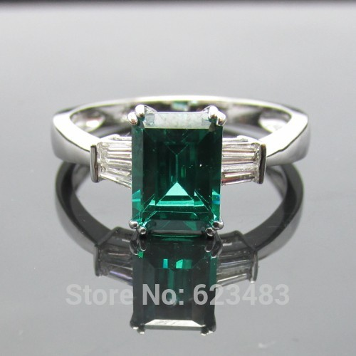 Solid 14k white gold 6X8mm Treated emerald Diamond Engagement Wedding RingSolid 14k white gold 6X8mm Treated emerald Diamond Engagement Wedding Ring