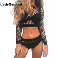 LadySymbol Two Piece Set Sexy Mesh Fishnet Blouse Shirt Women Crop Top And Briefs Summer 2017