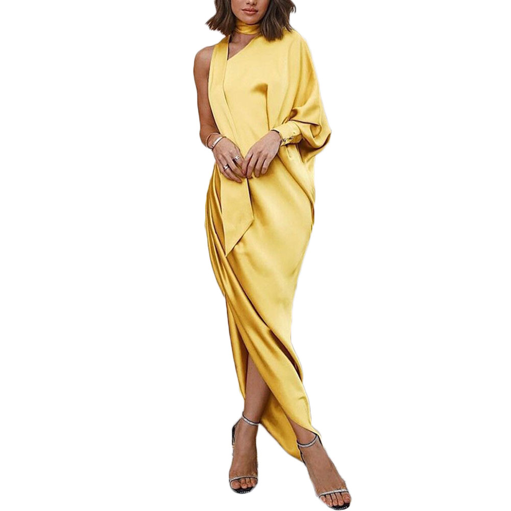 YJSFG HOUSE New Fashion Womens Dresses Formal Evening Party Dress One Shoulder Dress Ladies Maxi Long Dress Female Vintage Dress in Dresses from Women 39 s Clothing