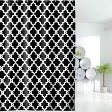 CLPAIZI Black Plaid Polyester Shower Curtain Geometric Patterned Waterproof and Mildewproof Size 72 x 80 D30
