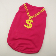 Pet Vest Clothes Gold Necklace
