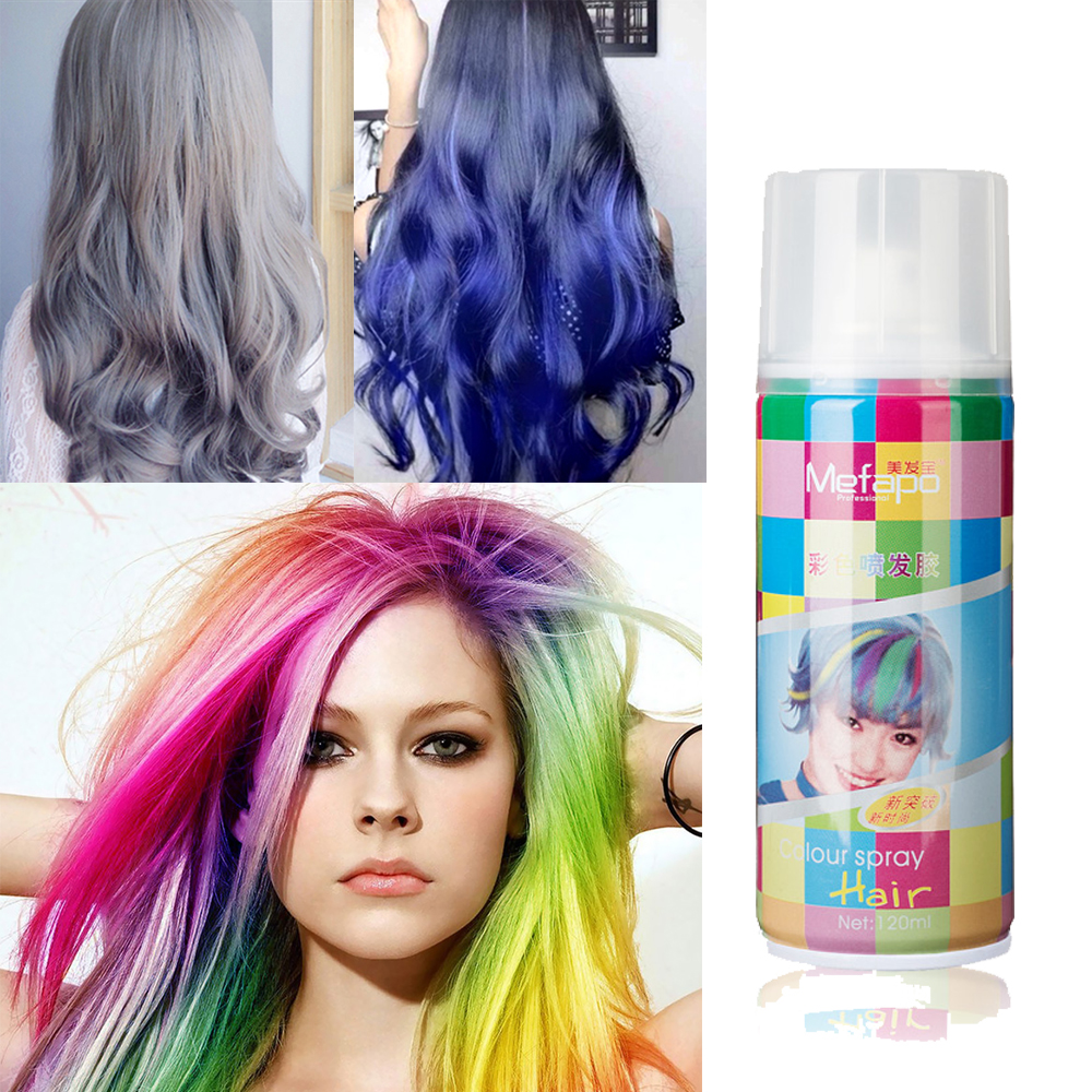 1pcs 120ml Water soluble one off temporary hair color spray-in ...