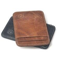 Vintage Dünne Mini Leder Kredit Identifikation-kartenhalter schwarz/brown echtes leder geldbörse herren geldbörsen Kostenloser Versand