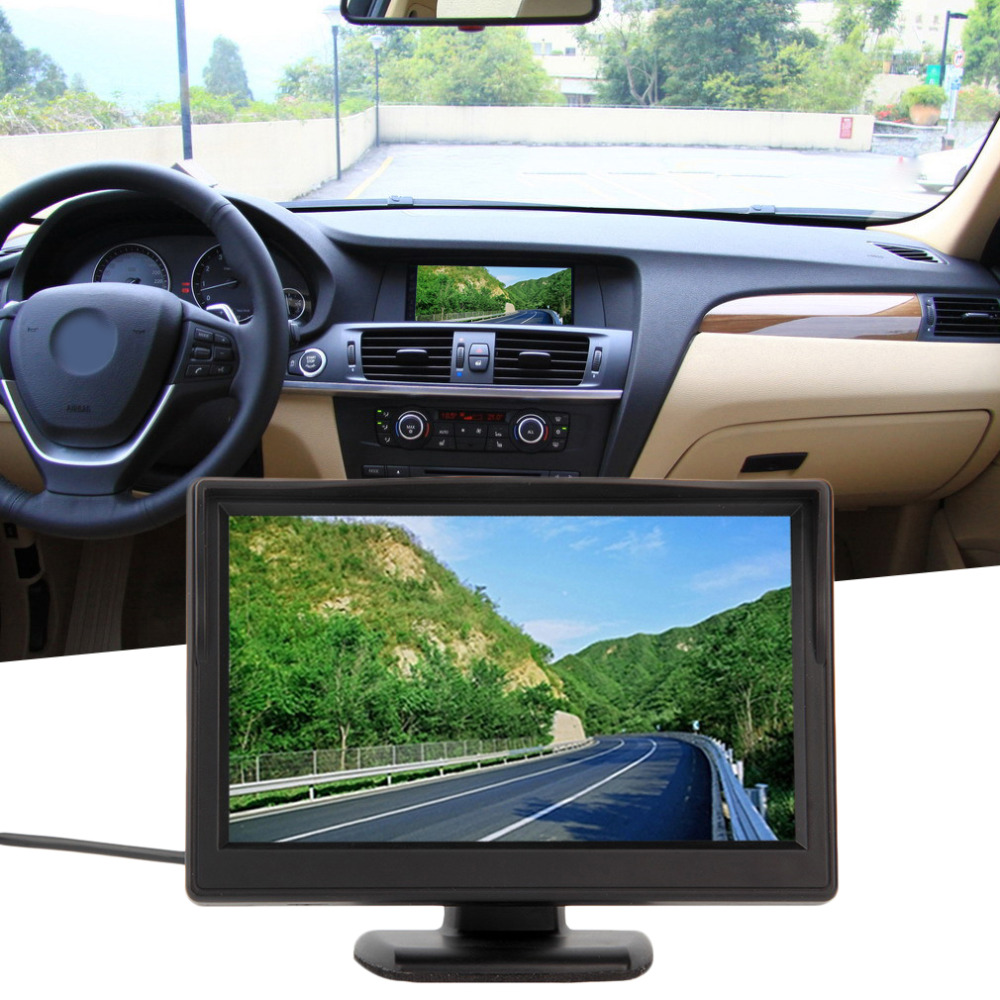 HD 800*480 Car TFT LCD Monitor 5 inch Car monitor Electronic Screen 2ch Video with Car Rearview Cameras Equipment Night Vision