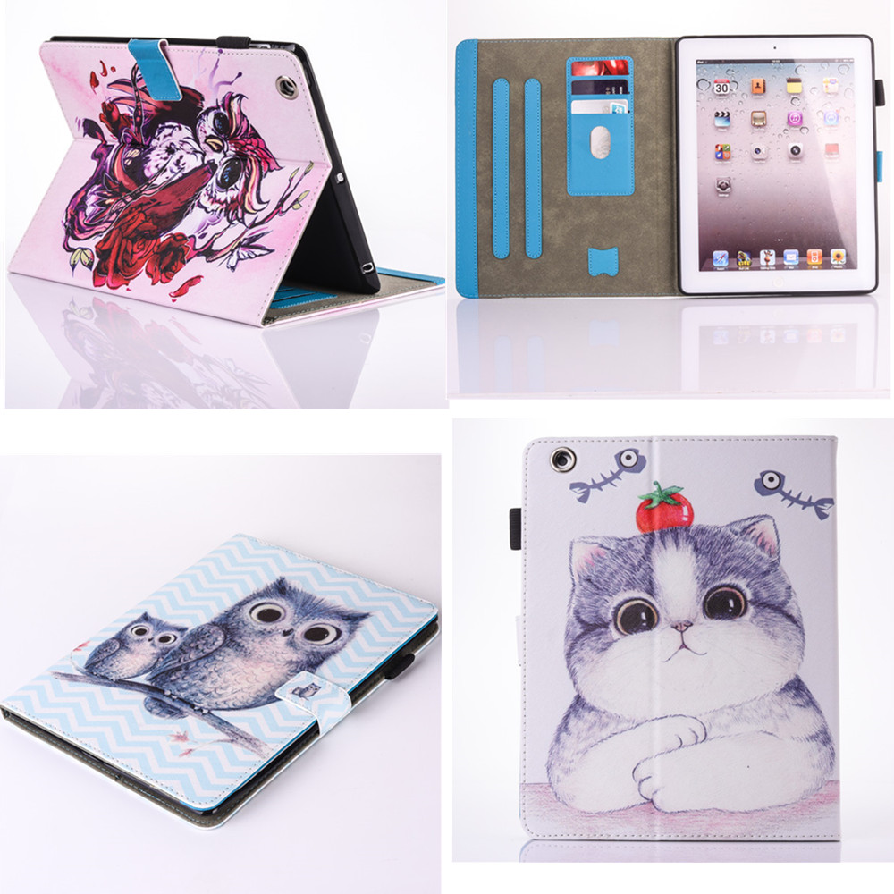 Fashion painted patterns tablet Cover For Apple Ipad 2 3 4  9.7 Inch Flip Stand PU Leather Kids Love Case For Ipad2 ipad3 ipad4 for apple ipad mini 4 case flip grape patterns pu leather protective cover rotate tablet pc stand shock resistant coque para