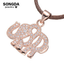 High Quality Zircon Women Jewelry Zircon Pendant Necklace Pave A Cute Animal Elephant Shape Micro Pave CZ For Fashion Girl Gifts(China)