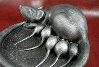 Chinese smartness Art Rock Stone Carved Six mouse ashtray Statue