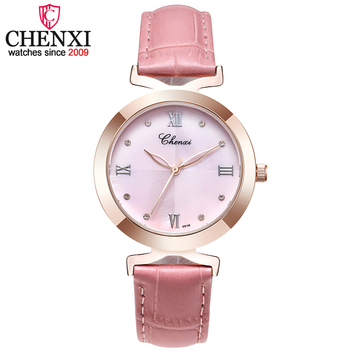 CHENXI Fashion Women Watches Women's Quartz Watch Ledies Leather Strap Rhinestones Quartz-watch Female Casual Gold Wristwatches image