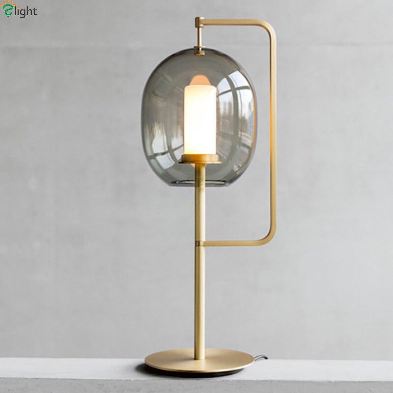 Modern Lustre Glass Led Table Lamp Gold/Black Metal Bedroom Led Table Lights Fixtures Living Room Led Table Light Desk Lamp