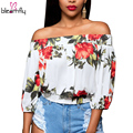 Sexy Slash Neck Flower Crop Tops Women Summer Autumn Tops Off Shoulder Blouses Female Lantern Sleeve Shirt with Ruffles blusas