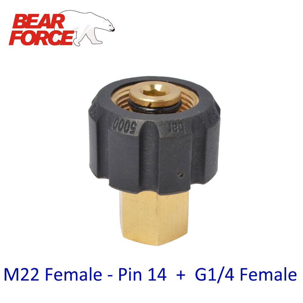 High Pressure Washer Car Washer Brass Connector Adapter M22 Female + G1/4 Female