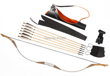 Combination Set Traditional Archery White Pigskin Longbow Recurve Bow 6 Bamboo Arrows 30-80LBS CB2T5