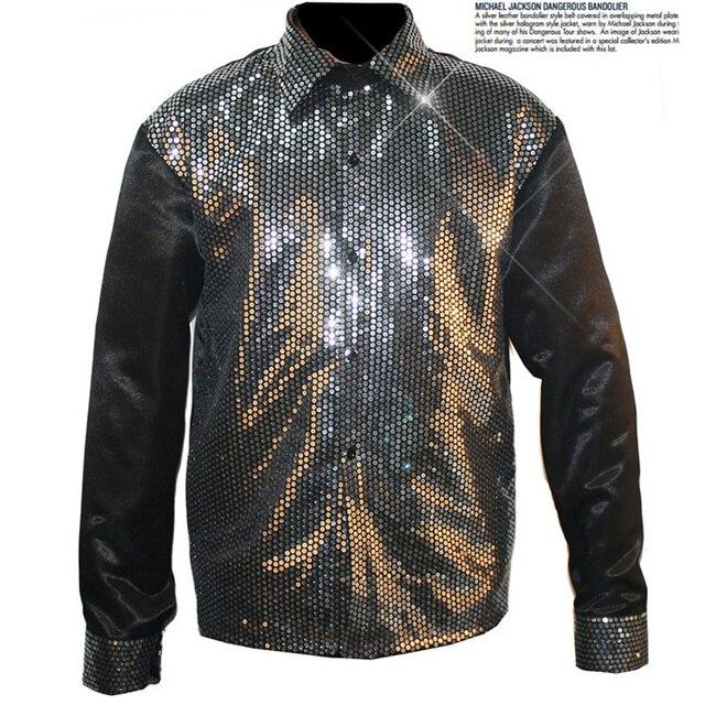 Rare Classic Mostrar Cosplay MJ Michael Jackson Billie Jean camisa de lentejuelas Negro en los ochenta Para Colección
