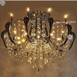 Nowy nowoczesne kryształowe żyrandole Swan minimalistyczny luksusowy pokój lampy sufitowe led oświetlenie restauracji Żyrandole Lampy i oświetlenie -