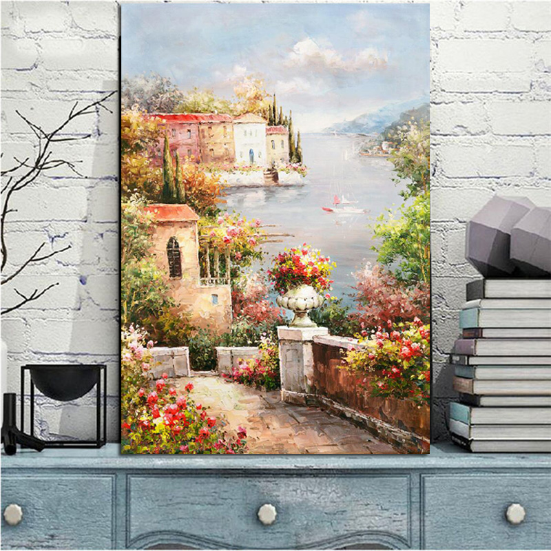 Poster and Prints Abstract Mediterranean Sea Garden Landscape Oil Painting on Canvas Modern Wall Picture for Living Room Decor