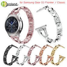 bracelet starp for Samsung Gear S3 Frontier / Classic Watch Band Replacement smart wristband stainless steel Crystal For Gear S3 v moro new genuine leather watch bands gear s3 replacement bracelet for samsung gear s3 classic frontier smart watch