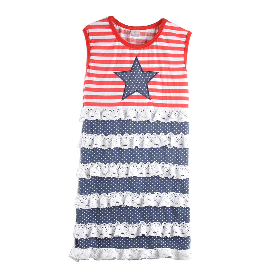 Factory Direct July 4th Baby Girl Clothes Sleeveless Striped Knitted Cotton Independence Day Dress Girls Summer Dress 012