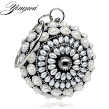 Фотография Round Design Beaded Women Handbags Rhinestones Luxurious Punk Small Lady Day Clutches Evening Bag Silver/Black/Gold