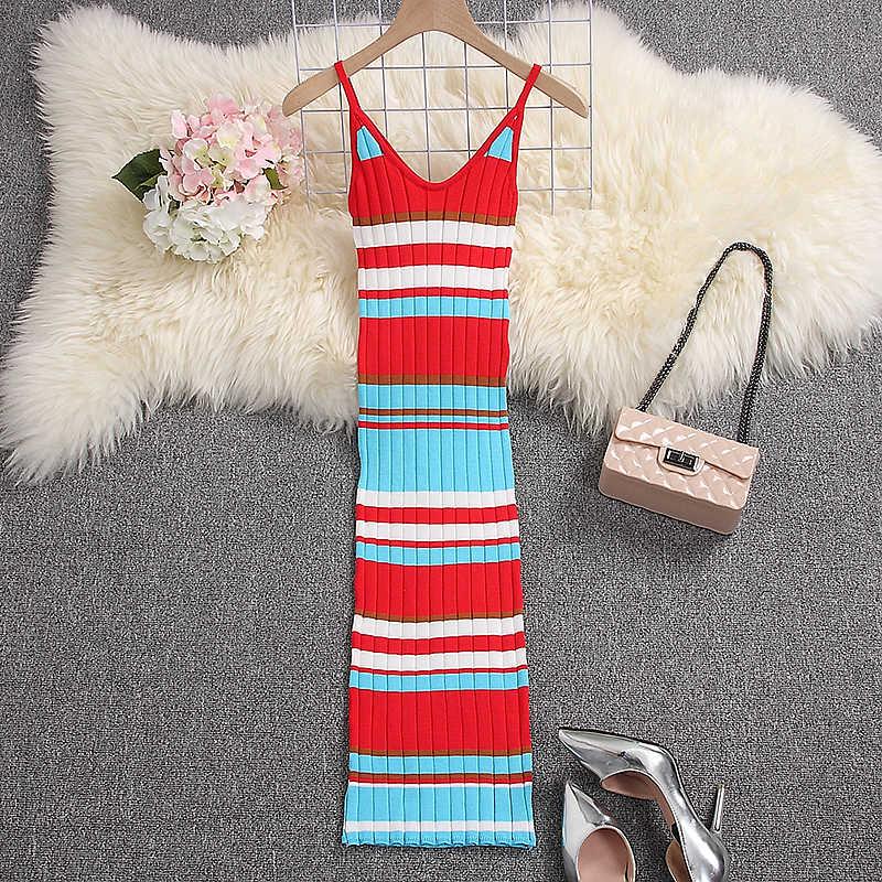 ALPHALMODA 2019 летнее трикотажное платье на бретельках Радужный цветной Мужской пуловер женские эластичные летние вязаные пуловеры Vestidos