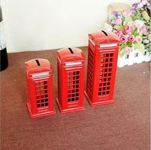 British Phone Booth Model Piggy Bank Iron Posts Childrens Small Decoration Creative Gifts