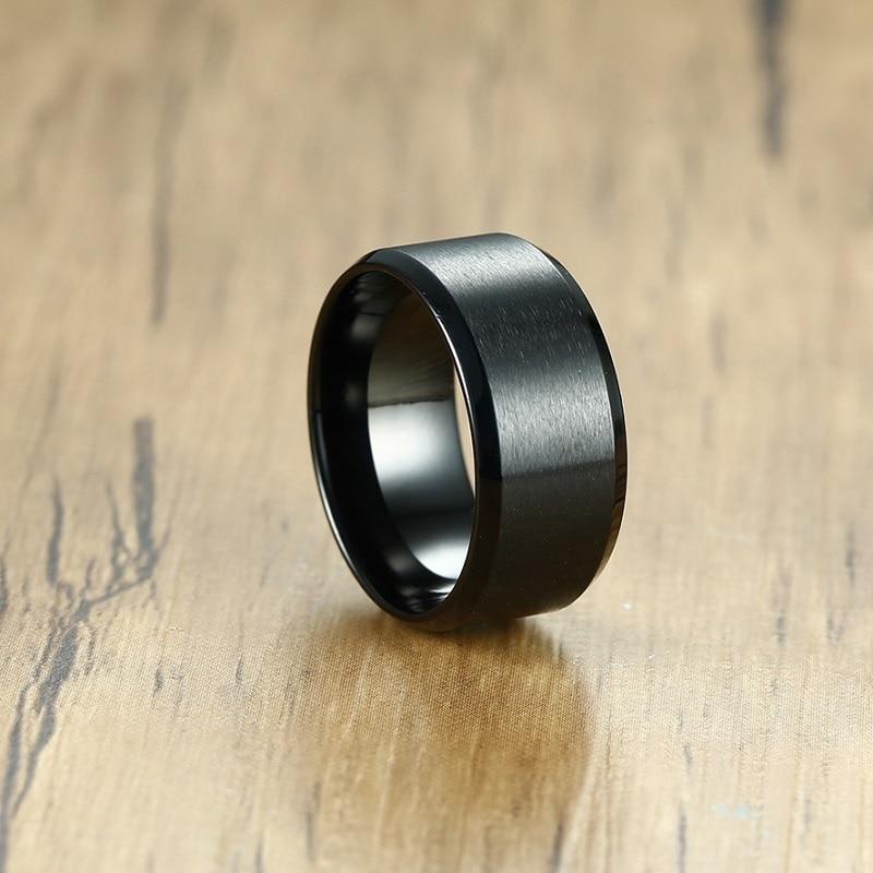 Купить мужские вечерние кольца 10 мм черные из нержавеющей стали модные
