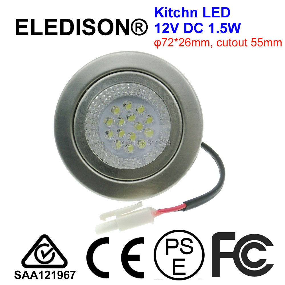 12V DC 1.5W LED Kitchen Bulb Light Cutout 55mm Hoods Light Lamp 20W Halogen Bulb Equivalent
