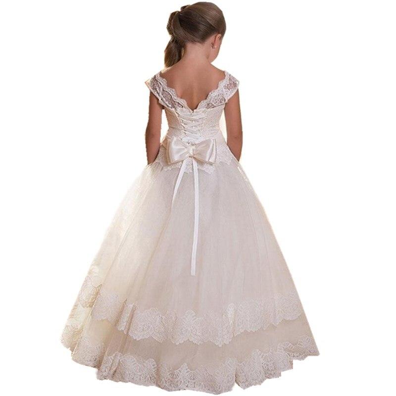 От 3 до 12 лет девушка свадебное Платья для младенцев европейских и американских кружева с большим бантом платье принцессы Детские Роскошные...